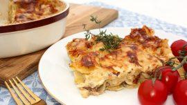 Lasagne på fläsk, gruyère, dijonsenap och vitt vin