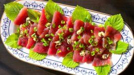 Sashimi på tonfisk och shiso