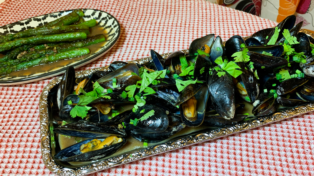 kinesiska ångkokta musslor