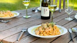 Lyxig krämig pasta med havskräftor