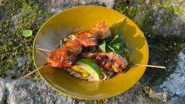 Grillade räkor och kyckling på thaisätt